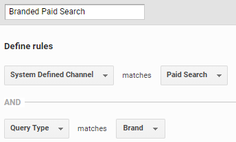 The configuration of the Brand Paid Search channel.