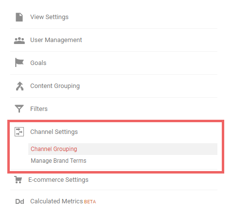 Channel grouping in Google Analytics Admin section.