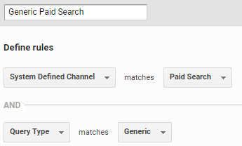 The configuration of the Generic Paid Search channel.